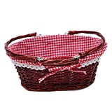 Oypeip Wicker Basket Gift Baskets Empty Oval Willow Woven Picnic Basket Easter Candy Basket Storage Basket Wine Basket with Handle Egg Gathering Wedding Basket (Auburn)