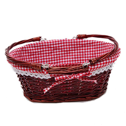 Oypeip Wicker Basket Gift Baskets Empty Oval Willow Woven Picnic Basket Cheap Easter Candy Basket Storage Basket Wine Basket with Handle Egg Gathering Wedding Basket (Auburn)