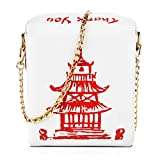 Fashion Crossbody Bag, Ustyle Chinese Takeout Box Style Clutch Bag Cellphone Container Tiny Satchel Funny and Unique Shoulder Bag Birthday Gift Card Case Fashionable Bag costume for teens (White)