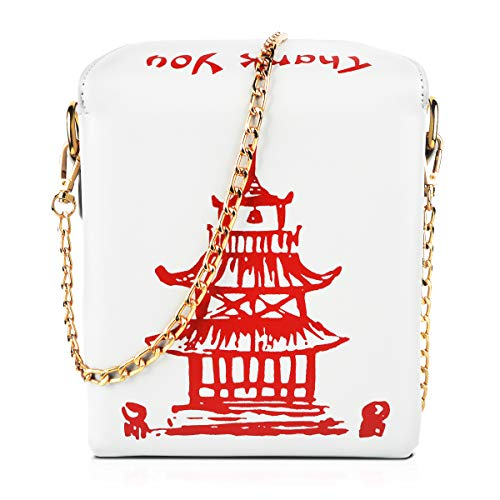 Fashion Crossbody Bag, Ustyle Chinese Takeout Box Style Clutch Bag Cellphone Container Tiny Satchel Funny and Unique Shoulder Bag Birthday Gift Card Case Fashionable Bag costume for teens (White)]()