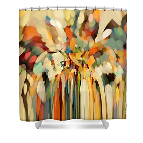 Pixels Shower Curtain (74'' x 71'') ''Christian Art- Angels Guiding Lot. Genesis 19 15'' by Pixels