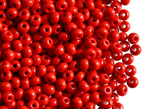 Seed Premium Beads (20gr (approx. 260 pcs.) 6/0 Preciosa Czech Glass Seed Beads Rocailles, Premium Red Opaque)