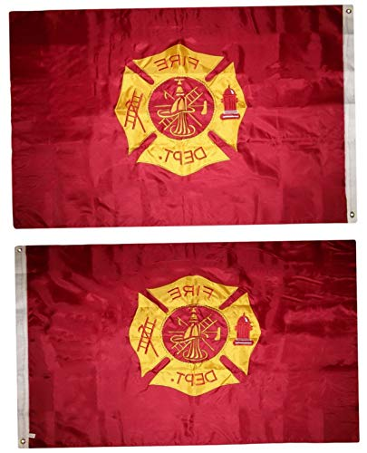 Mikash 4x6 Embroidered Sewn Fire Dept. Department Nylon Flag 4x6 Double Sided | Model FLG - 3160 ()