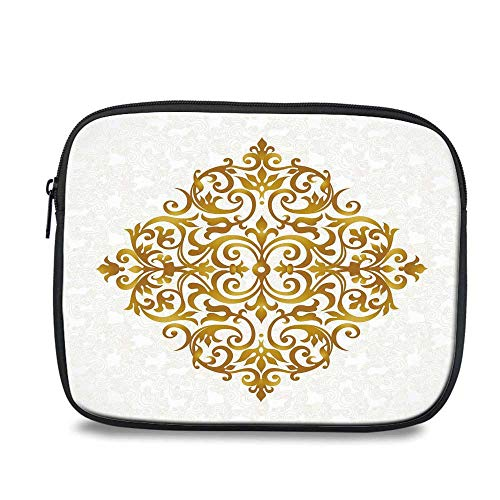"Gold Mandala Durable iPad Bag,Victorian Style Traditional Filigree Inspired Royal Oriental Classic Print Decorative for iPad,10.6"" L x 1.1"" W x 8.8"" H"