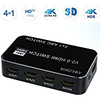 HDMI Switch Hub,Amazbox 4 IN 1 Out HDR+ARC 4kx2k HDMI Spliter with IR Wireless Remote and Audio Extractor 3.5mm Jack & Optical TOSLINK Support Macbook/ PS4/ Amazon Fire TV/ PSP etc