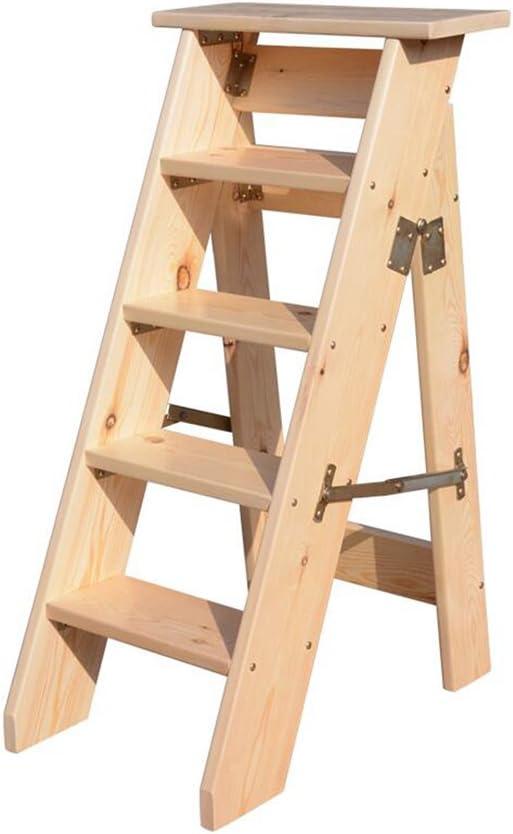 Gym Hogar Escalera Escalera De Madera Maciza Engrosamiento Ático Solo Lado Escalera Plegable Escalera De Madera De Cinco Pasos Escaleras Desván Interior (Color : A, Size : 35 * 65 * 100CM): Amazon.es: Hogar