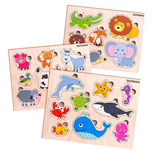 Quokka Wooden Peg Puzzles Set. Sturdy Puzzle Shapes for kids 2-4 years, See-Inside Sea Creatures, Wild & Farm Animals, 3-Pack Developmental Toy for Baby. Wooden jigsaw puzzles for logical thinking