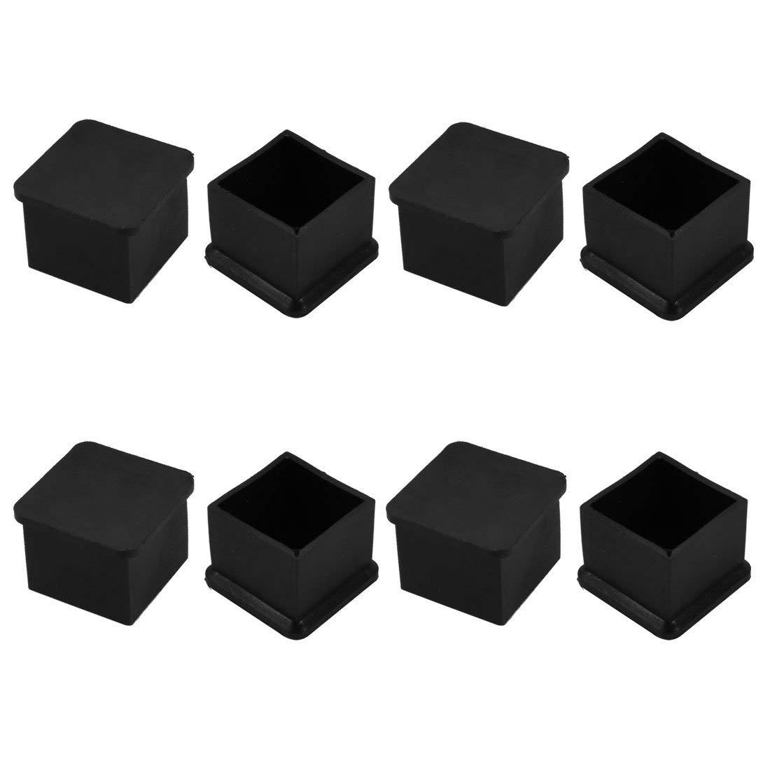 8pc 30mm x 30mm Tuyau Insert Chaise Jambe Cap Carr/é Noir PVC Bouchon Tube