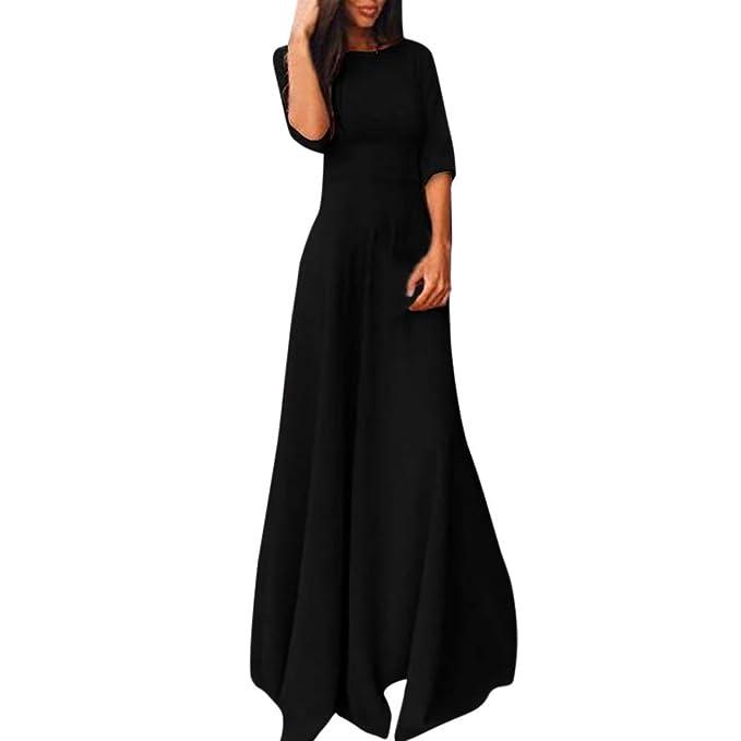 Minisoya Women Half Sleeve Floor Length Dress Casual Loose Formal