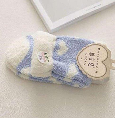 Sagton Women Warm Casual Comfort Coral Cashmere Winter Socks Floor Slipper Socks Dark Blue wU3Vcky5