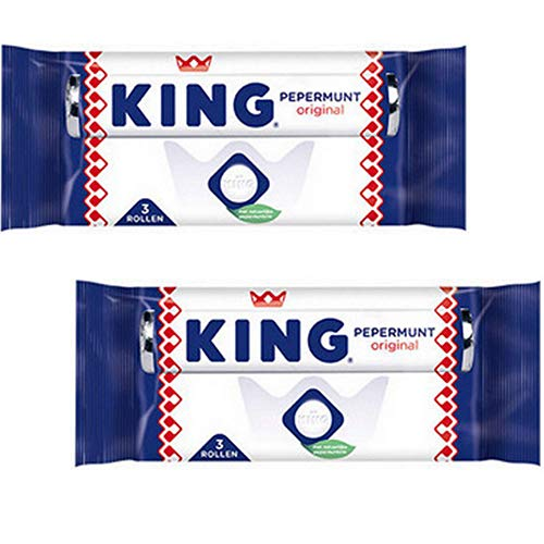 King Peppermint Rolls Candy Mints - (6-Rolls) - Dutch Holland Candies, 4.6 oz. Per 3-Pack