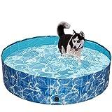 SCIROKKO Foldable Dog Swimming Pool - Portable PVC Pet Bathing Tub Collapsible Kiddie Pool for Outdoor - Large