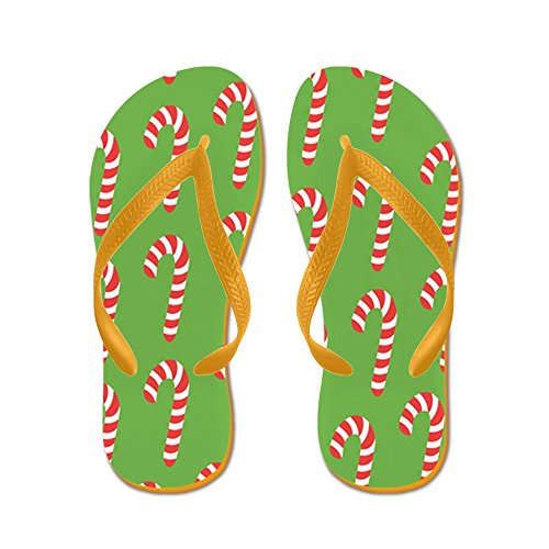 CafePress Holiday Candy Canes - Flip Flops, Funny Thong Sandals, Beach Sandals Orange