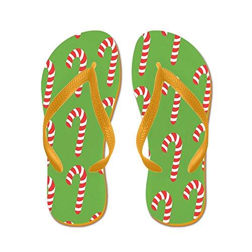 Cafepress Holiday Candy Canes - Chanclas, Sandalias Thong Divertidas, Sandalias De Playa Naranja