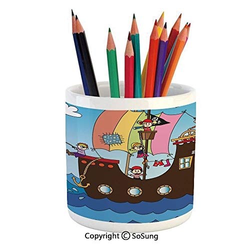 Printed Ceramic Pencil Pen Holder Case Box,Kids Pirate Ship with Funny Children Adventure Ocean Journey Waves Birds Clouds Decorative Beautiful Stationery for Daily Use in Office,Classroom,Home,Gift I