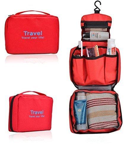 SunKni Portable Toiletry Bag Wash Bag Bathroom Hanging Bag Travel Bag  Zipper Storage Bag Drawer Dividers df7b5c0c098bd