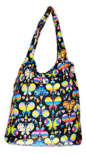 Trendy Sturdy Shopping Tote Bag - Rainbow Butterflies Pattern (Black)