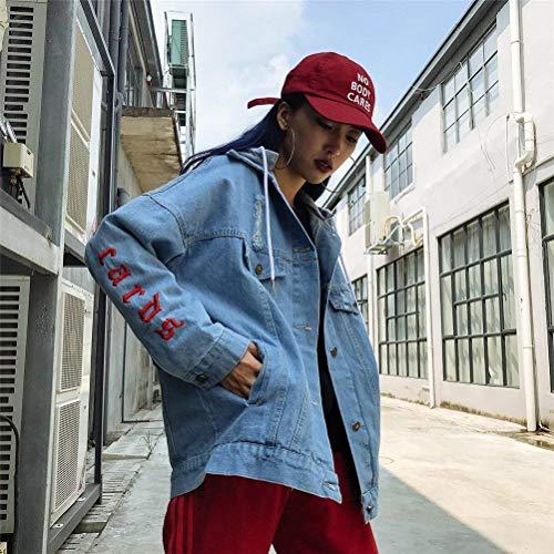 Elegante Blau Digitale Lunga Giacche Removibile Jeans Con Moda Autunno Mantello Cappuccio Giaccone Donna Giacca Primaverile Manica Sciolto Coat Casual Ricamo ttpfHqw