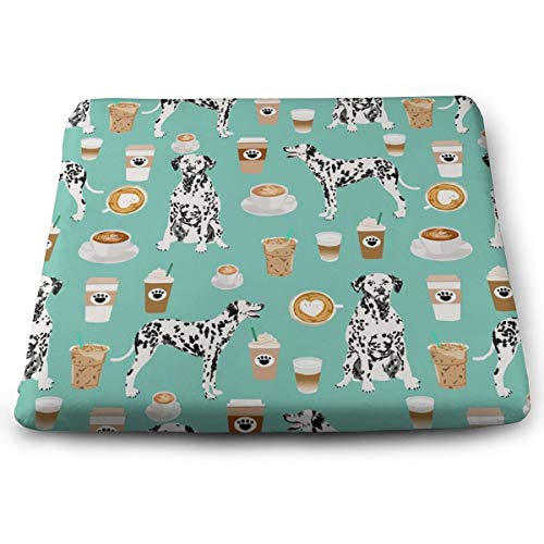Dalmatians Cute Mint Coffee Best Dalmatian Dog Seat Cushion Memory Foam Cushion for Outdoor Patio Furniture Garden Home Office, Square ergonomic Sit Cushion for Lower Back Tailbone Coccyx -