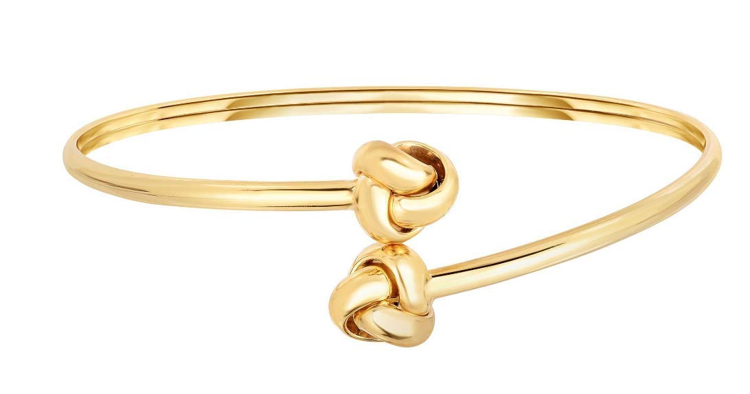 14kt Yellow Gold Shiny Double Loveknot Tip Fancy Bypass Type Fancy Bangle