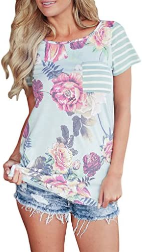 YIJIU Womens Summer Floral Print Striped Short Sleeve T-Shirt Tops with Pocket