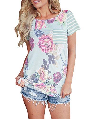 - YIJIU Womens Summer Floral Print Striped Short Sleeve T-Shirt Tops with Pocket Light Blue