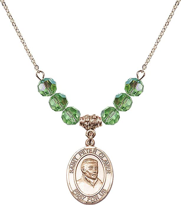 Green Peridot August Birthstone 18-Inch Hamilton Gold Plated Necklace with 6mm Peridot Birthstone Beads and Communion Chalice Charm