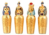 Pewter Egyptian Canopic Jars, Collectible Egypt Statue, Set of 4