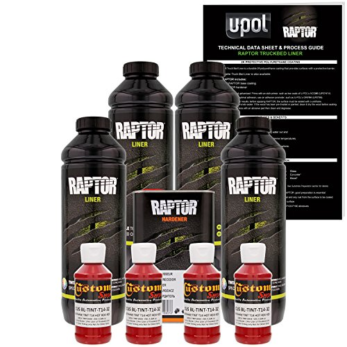 U-POL Raptor Hot Rod Red Urethane Spray-On Truck Bed Liner & Texture Coating, 4 Liters