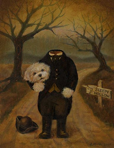 Dog Portrait Print - Halloween Dog - Dog Art - Halloween Decor - Headless Horseman - Sleepy Hollow - Gothic Print - Humorous - Funny Dog - Cute (Dog Halloween Art)