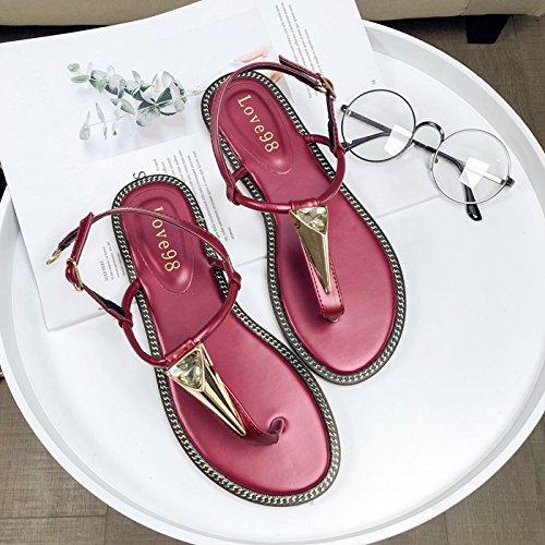 GTVERNH Sommer Street - Flut Diamond Flache Schuhe Komfortable Weichen Boden Schnalle Sandalen Damenschuhe.