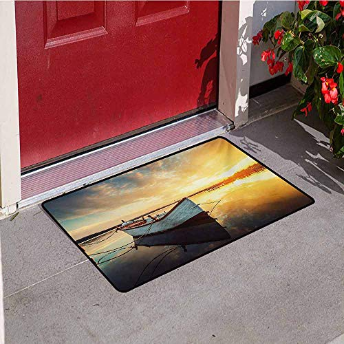 Jinguizi Lake House Front Door mat Carpet Small Boat on The Water with Horizon and Overcast Dramatic Sky Harbor Home Machine Washable Door mat W35.4 x L47.2 Inch Pale Yellow