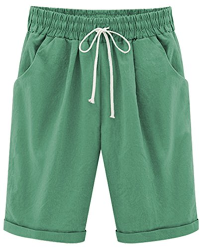 Fit Knee Short - HOW'ON Women's Casual Elastic Waist Knee-Length Curling Bermuda Shorts with Drawstring Grass Green M