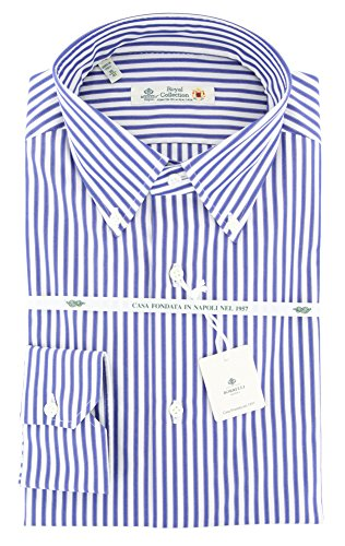 Luigi Borrelli New Dark Blue Striped Extra Slim Shirt