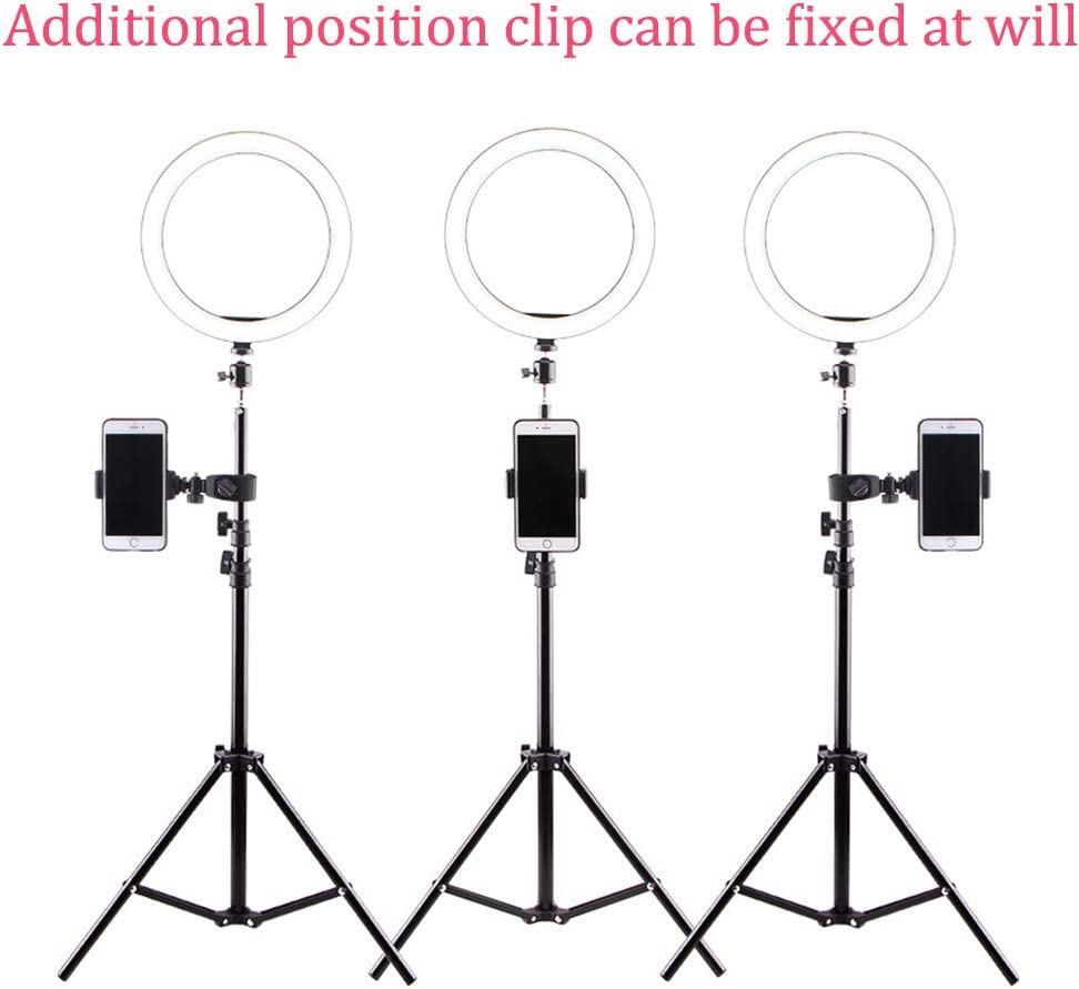 Ring light 5W LED with 2 Phone Holder Adjustable Brightness with Telescopic Tripod Stand for Makeup Video YouTube