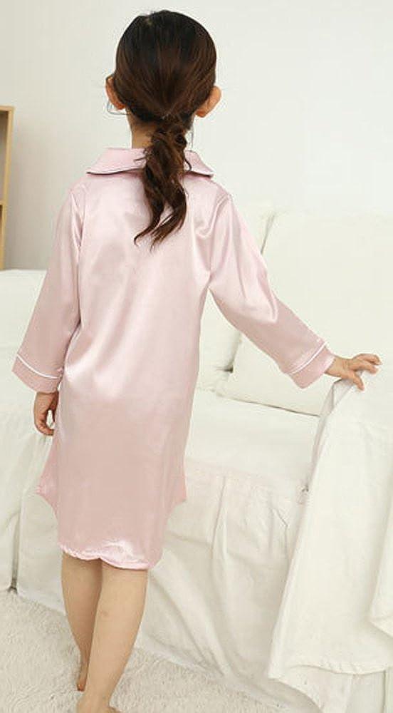 Wongstore Long Sleeve Satin Girls Button-Front Nightshirts Pajama Sleepshirt