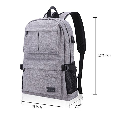 Hanxiema Travel Laptop Backpack Fit 15.6 Inch Laptop or Macbook Oxford Cloth with USB Charging Port Large Capacity School Computer Bag for Men Women (Grey HXm-02-1) by Hanxiema (Image #6)'