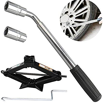 High Quality Steel Scissor Jack 2 Tonne Black 15 Inch Height with Jack Handle Car Auto Wheel Repair Change Tool