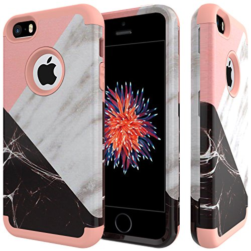 iPhone SE Case,iPhone 5S Case,iPhone 5 Case,SLMY(TM) Fashion Marble Armor Shockproof Heavy Duty Shock Resistant Hybrid Soft Silicone Hard PC Cover Case for Apple iPhone SE/5S/5/5C-Marble Rose Gold