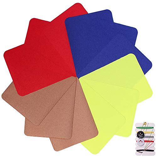 4.9in x 3.7in 12 Pieces Square 4 Colors Iron on Patches for Clothing Repair, Decorating Kit, Iron for Jeans & Clothing Repair, Style 1