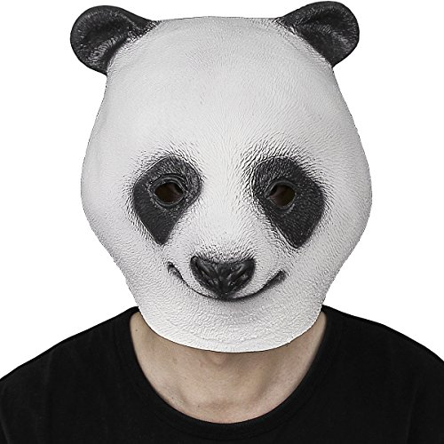 Novelty Latex Rubber Creepy Panda Head Mask Halloween Party Costume Decorations One Size (Anime Halloween Mask)