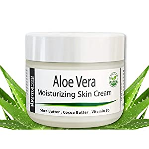 Aloe Vera Dry Skin Cream - Best Remedy Skin Repair Cream by Derma-nu - Organic Treatment for Face & Body - Treatment for Psoriasis and Eczema Therapy - Non-greasy and Fast Absorbing - 4oz