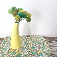 Green Felt Flowers - Clover, Shamrock, Spring Bouquet - Wool Yarn Pom Pom Flowers - Faux Fake Flowers - Emerald Green - Pantone Greenery