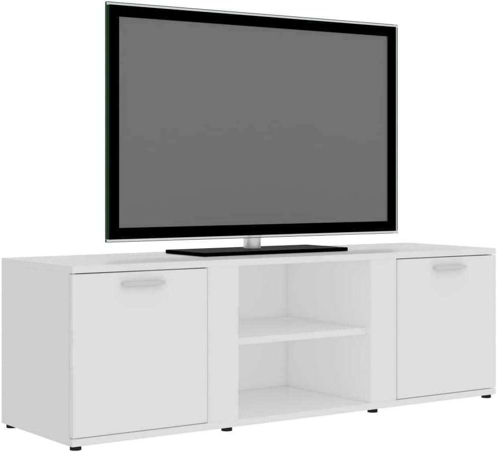 vidaXL TV Schrank mit 2 T/üren 2 F/ächern TV M/öbel Lowboard Fernsehtisch Fernsehschrank Sideboard HiFi-Schrank Wei/ß 120x34x37cm Spanplatte