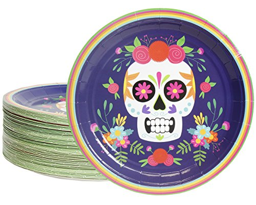 Disposable Plates - 80-Count Paper Plates, Day of The Dead Party Supplies for Appetizer, Lunch, Dinner, and Dessert, Dia De Los Muertos Skull Design, 9 Inches in Diameter -