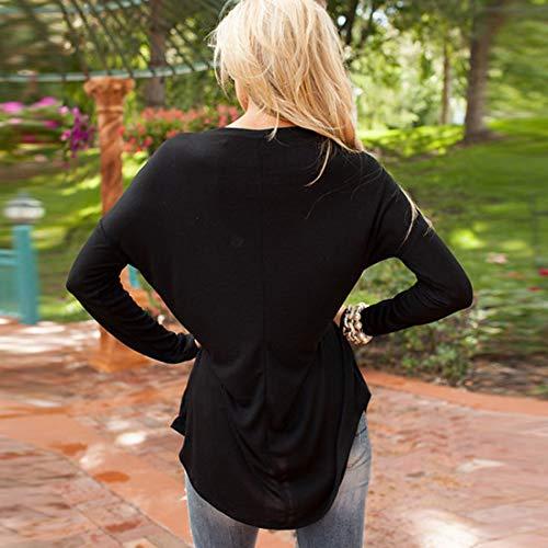 Blouse Longues Tees Sweat Rond Printemps Noir Femmes Shirts Col Tunique Longue et Mi Manches Paillettes Shirts Hauts Casual Jumpers Fashion Shirts Pulls T Tops Automne U8PR4rWU