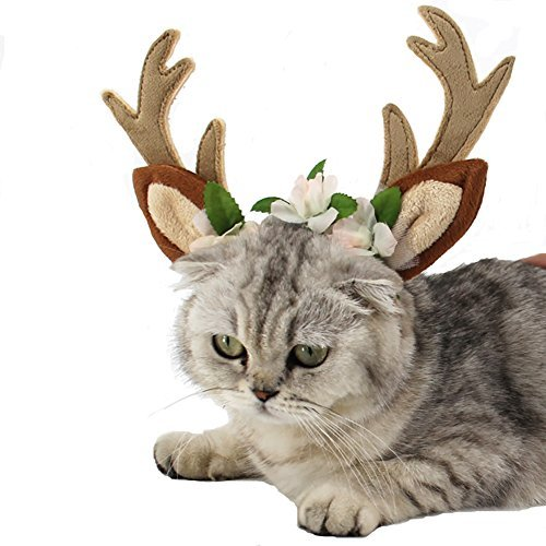 Meelino Pet Antlers Headband with Ears Flowers Holiday Christmas Festival Costume Adjustable Flexible Dogs Cats Hair Accessories Fun Gift (M, - Antlers Pet Costume
