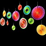 "Adorox Set of 12 Vibrant Bright Colors Hanging Paper Fans Rosettes Party Decoration 8"" 12"" 16"" Various Sizes Fiesta Cinco De Mayo (2)"