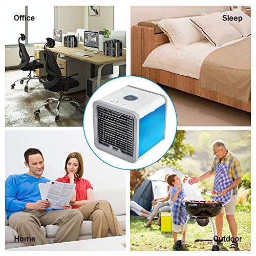 Portable Air Conditioner Mini Fan- Personal Mini Air Conditioner, USB Portable Personal Space Air Cooler Humidifier Purifier with 7 Colors LED 3 Fan Speeds, Cooling Fan for Office Home Outdoor by Double-H-W (Image #2)