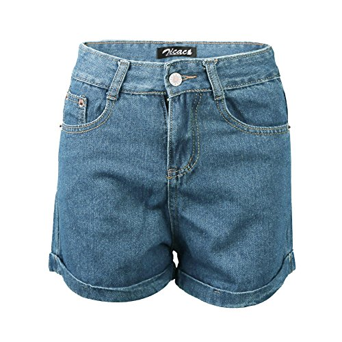 Zicac mujer Juniors 'Vintage verano de moda del color puro Slim cintura alta skinny jeans Folded dobladillo pantalones cortos denim lápiz pantalones Leggings borde tanga azul claro